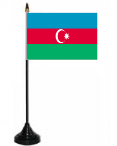 Azerbaijan Desk / Table Flag with plastic stand and base.